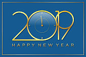 Classy design vector time of new year background with color gold