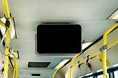 black TV without information inside the bus.
