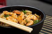 Traditional shrimp yakisoba. Japanese and Chinese Pasta.