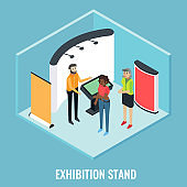 Exhibition stand concept vector flat isometric illustration