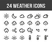 Weather forecast. Set of outline weather icons. Vector