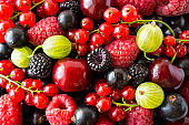 Ripe blackberries, blackcurrants, cherries, red currants, raspberries and gooseberries. Mix berries and fruits. Top view. Background berries and fruits. Various fresh summer fruits.