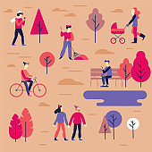 Vector illustration in flat simple linear style -  people walking in the public autumn park