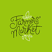 Vector logo design template and hand-lettering phrase - farmers market