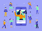 Vector illustration in flat simple style with characters - influencer marketing concept