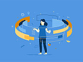 Web and app  development creative concept with female character