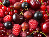 Ripe raspberries, blackcurrants, cherries, red currants and gooseberries. Mix berries and fruits. Top view. Background berries and fruits. Various fresh summer fruits.