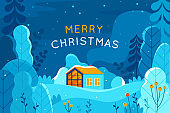 Vector illustration in trendy flat simple style - Merry  Christmas and Happy New Year