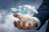 Hand with cloud data and the protection shield.