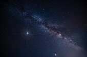 Amazing spike glowing lucky star and Milky Way Galaxy background - stock image