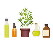 Marijuana plant and cannabis oil. Medical marijuana.