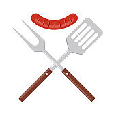 BBQ or grill tools icon. Crossed barbecue fork and spatula with grilled sausage.