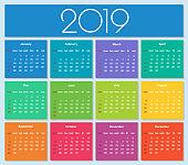 Colorful year 2019 calendar.