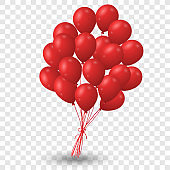 Group of Red Balloon for Party Decorate on Transparent Background - Vector Illustration