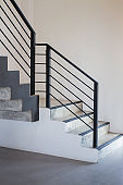 Black steel staircase of new apartment