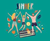 Summer pop art illustration with happy family. Tropical beach. Typographic vector illustration.
