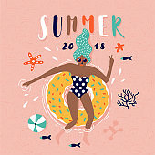 Summer pop art illustration with swimmer. Tropical beach. Typographic vector illustration.