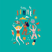 Summer pop art illustration with happy young ladies. Tropical beach. Typographic vector illustration.