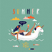 Summer beach cartoon vector illustration with young women on the float
