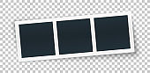 Three photo place in row, isolate on transparent background.