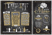 Chalk menu boards with kitchenware, hand drawn graphic