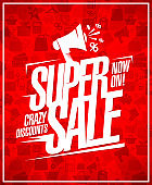 Super sale, crazy discounts, advertising poster design