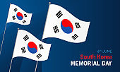 South Korea Memorial Day card vector illustration. Flag waving on dark blue background.