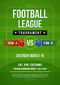 Football league tournament flyer invitation vector illustration. Text on football pitch background. (RGB Color)