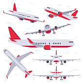 Flat airplane. Aircraft flight travel, aviation wings and landing airplanes isolated vector illustration