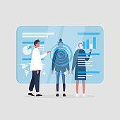 A group of millennial character monitoring a blue transparent futuristic screen. Conceptual future technologies / flat editable vector illustration, clip art