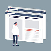 Male Internet user visiting a webpage. Lifestyle media. Website layout. Content. Technology. Flat editable vector illustration, clip art
