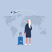 Young female traveler looking at the map, back view. Flight. Destination. Tourism. Flat editable vector illustration, clip art