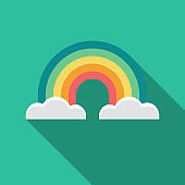 Rainbow Flat Design Weather Icon with Side Shadow