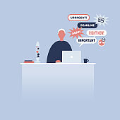 Young manager receiving a bunch of notifications on the laptop messenger. Troubleshooting. Deadlines and urgent tasks. Business situation. Flat editable vector illustration, clip art