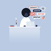 Young black female manager receiving a bunch of notifications on the laptop messenger. Troubleshooting. Deadlines and urgent tasks. Business situation. Flat editable vector illustration, clip art