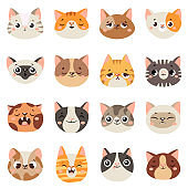 Cute cats faces. Happy animals, funny kitten smiling mouth and crying sad cat. Animal character face cartoon vector illustration set