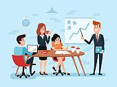Office teamwork or business meeting. Busy corporate cartoon work