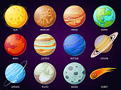 Cartoon solar system planets. Astronomical observatory planet, meteor and star. Astronomy vector icons set