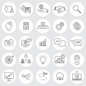Bussiness communication vector icons set, Thin line outline