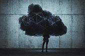Businessman and cloud computing