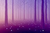 Fantasy violet glowing dark forest