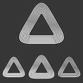 Silver line triangle logo design set