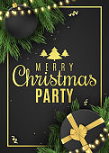 Christmas flyer for party. Black gift box with a gold ribbon and christmas ball. Confetti with serpentine. Glowing gold light garland on fir tree. Vector illustration. EPS 10