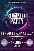 Flyer for the Summer Party. Abstract neon round banner with flying luminous geometric particles. Dance night party. Triangles. Plexus style. The names of the club and DJ. Vector illustration. EPS 10