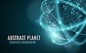 World map from binary code. Futuristic planet. Glowing, blurry neon lines. Abstract background. Computer programming code. Global network. Vector illustration. EPS 10