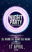 Poster for night dance party. Round banner of luminous neon swirling lines. Name of club and DJ. Night party flyer. Plexus background. Vector illustration. EPS 10