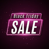 Black Friday Sale Banner. Super sale. Neon modern web banner. Flying glowing dust. Vector illustration. EPS 10