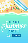 Flyer for the summer sale. Surfboard, beach goggles and sponges. Sunny sandy beach. Cartoon style. Special offer. Summer discounts. Vector illustration. EPS 10