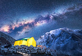 Milky Way, yellow glowing tent and mountains. Amazing scene with himalayan mountains, starry sky at night in Nepal. Rocks with snowy peak and sky with stars. Night landscape with milky way. Space