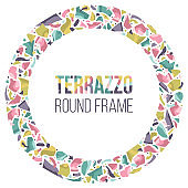 Hand drawn round and vignette frame in terrazzo style, colorful border with space for text.